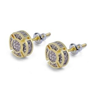 24K Gold Plated CZ Gold Micro-Studded Earrings